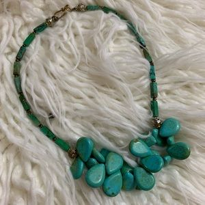 Turquoise and Brass Necklace.